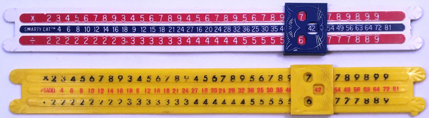 Reverso de las Reglas de Cálculo Smarty Cat, operaciones de multiplicación y división
