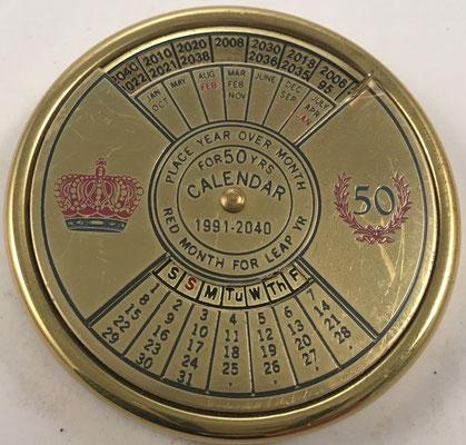 Calendario perpetuo para 50 años 50 años (desde 1991 hasta 2040), fabricado en Taiwan, 5.5 cm diámetro