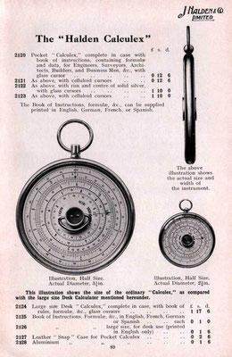 Folleto publicitario comparando ambas reglas HALDEN CALCULEX: escritorio y bolsillo