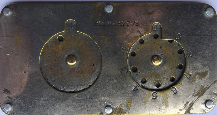 STEPHENSON modelo A (Tipo I), patentado el 25 de marzo de  1873. En reverso: C.B. SIMMONS. Gen'l Agent, Oil City, Pennsylvania, 9x4.5 cm