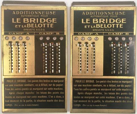 Pareja de ábacos de ranuras (uno para cada jugador o equipo: camp A, camp B) para utilizar como anotadores en los juegos de cartas LE BRIDGE et LA BELOTTE, fabricado por Le Girondin-Unis France, Elpe (2-193), s/n F-33708 y F-33716, año 1926, 8.5x15 cm