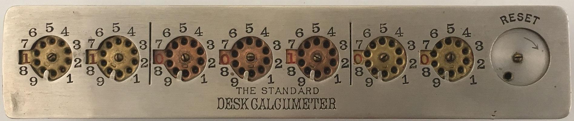 The Standard DESK CALCUMETER, fabricado por Herbert North Morse (Trenton, Nueva Jersey, EE. UU.), con mecanismo de puesta a cero, s/n 90/68145, año 1901, 25x5X2 cm