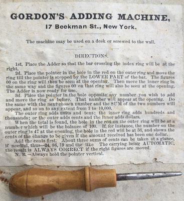 Instrucciones y puntero para el  uso de la sumadora GORDON, New York