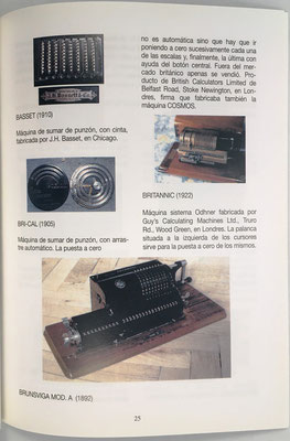 Página 25 del catálogo: ábaco de cadena, sumadoras de contabilidad y dos calculadoras mecánicas