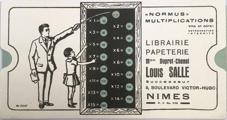 Regla para multiplicación NORMUS, librería sucesores Louis Salle (Francia). hacia 1931, 16x9 cm