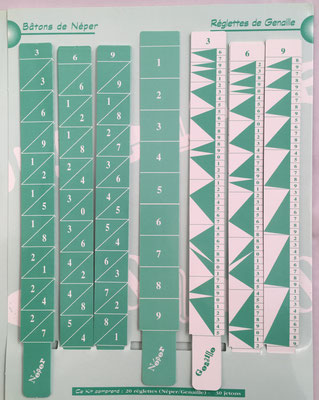 Kit Calculus: batons de Neper con índice y reglettes de Genaille, 2x23 cm cada varilla