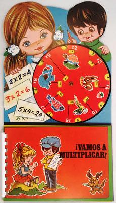 Conjunto educativo de multiplicación ¡VAMOS A MULTIPLICAR!, consta de Disco Calculador, Tablas de Multiplicar y Cuaderno, editado por Beascoa SA  e impreso por CIAC (Barcelona), año 1983, 18.5x34cm