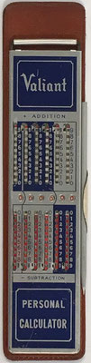 Ábaco de ranuras VALIANT Personal Calculator, sin s/n, hecho en Japón, año 1960, 4x16 cm