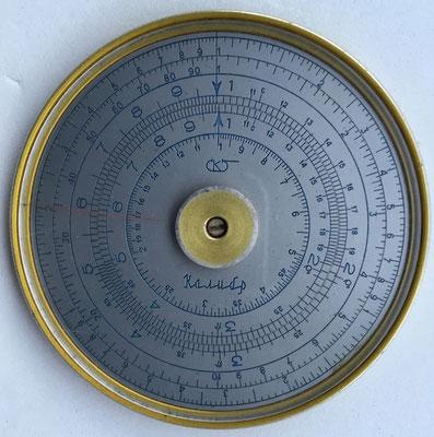 Regla rusa modelo SPUTNIK con su logo, metal, año 1950, 7 cm diámetro (rara, 300€)
