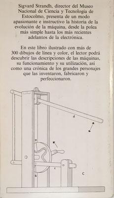 Contraportada del libro, con un esquema de Polhem para transformar el movimiento giratorio en alternante