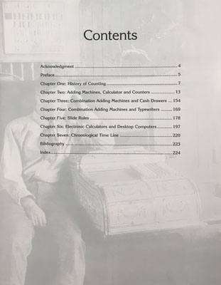 El libro recorre los artilugios de cálculo utilizados entre los siglos XV y XX . Como novedad poco usual, indica un precio estimado para cada uno de ellos