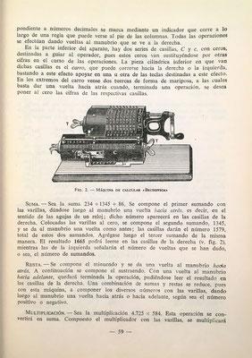 Imagen de una máquina de calcular Brunsviga con la que se puede sumar, restar, multiplicar y dividir