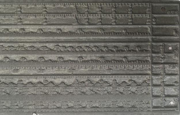 Detalle A del Cliché plano de metal para tinta, volteado
