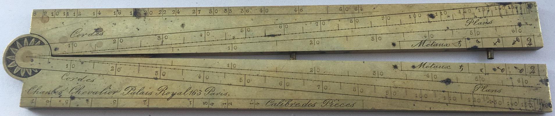 Inscripciones en el Sector francés:  Les Partíes Equales. Poligones, Les Cordes, Métause, Boulets y Solides y símbolos para diferentes metales