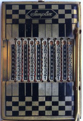 Ábaco de ranuras o contóstilo SEMPLIX modelo 1, sin mecanismo de llevada o acarreo, hecho en Italia, año 1926, 6x9 cm
