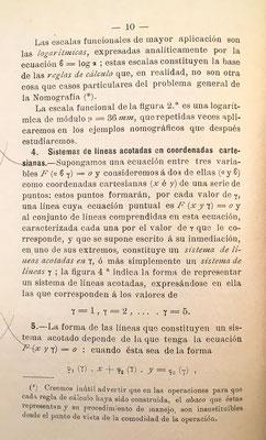 La regla de cálculo vista como caso particular del problema general de la nomografía: nomograma de escala logarímica: pág. 10