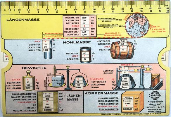Reverso de la regla para multiplicación NORMUS Sistema Huber para diferentes medidas de peso, masa y volumen