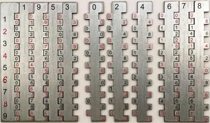 Baguettes de Roussain, inventadas en 1738, variante del ábaco neperiano, Las multiplicaciones se realizan mediante sumas verticales