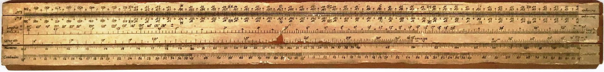 Primitiva Regla Topográfica española marca CONDE (modelo 1), 43x5 cm