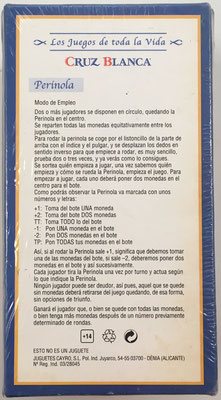 """Reverso de la caja del juego """"PERINOLA"""" con las instrucciones para jugar"""