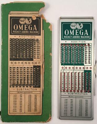 Ábaco de ranuras OMEGA Poquet Adding Machine, sin s/n, hecha en Campbell, California (USA), año 1964, 4x16 cm