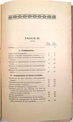 Índice del libro. Alcayde considera la regla de cálculo como un nomograma de escala logarímica (páginas 9 y 10)
