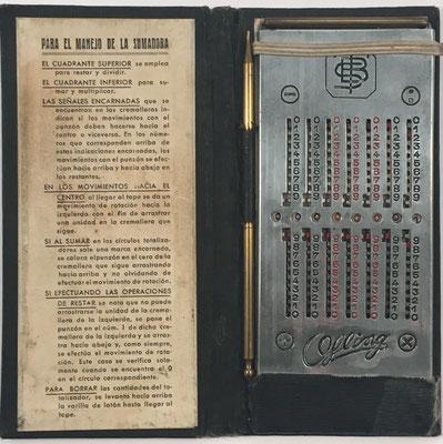 Ábaco de ranuras OFLING, sin s/n, comercializado en España por S. Buzzanca, hacia 1930, 7.5x15 cm