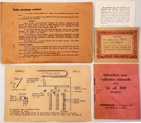 """Documentación e instrucciones """"para la utilización racional"""" de la DA-702, s/n 9301,"""
