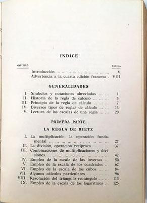 Índice del libro La Regla de Cálculo, R. Dudin