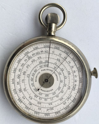 SCIENTIFIC PUBLISHING COMPANY pocket calculator, año 1907, 6 cm diámetro