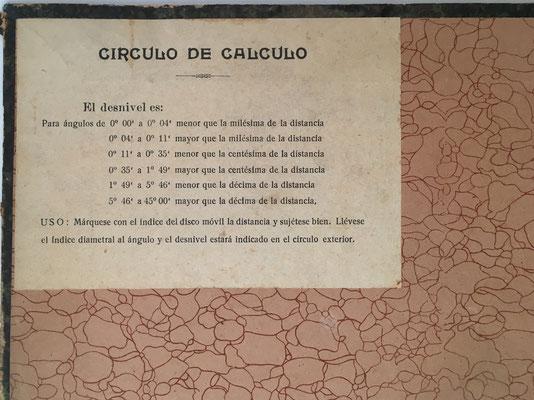 Instrucciones de uso para el círculo de cálculo PRIETO-CERRADA
