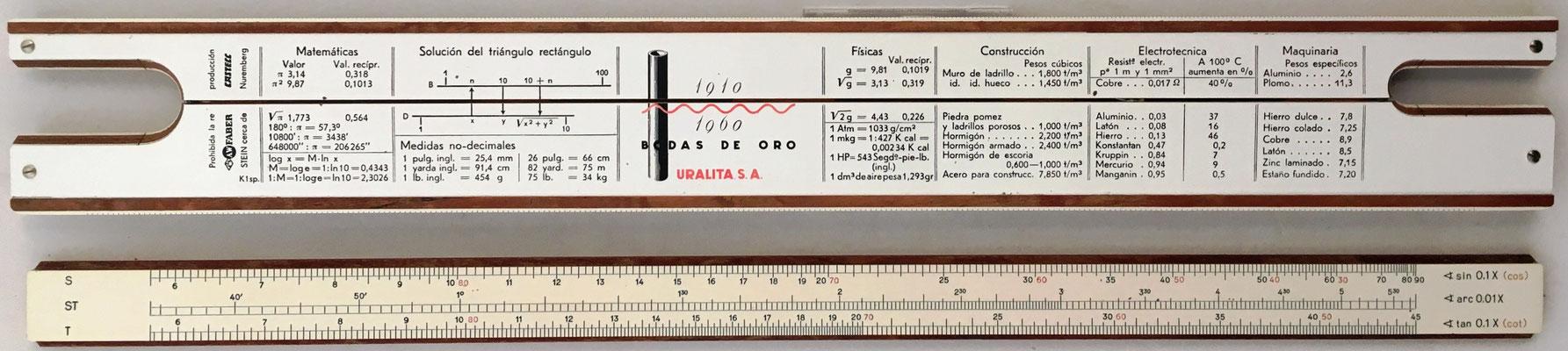 Reverso de la regla URALITA S.A (Faber-Castell 1/87) y de la reglilla. en sus bodas de oro
