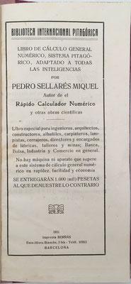 Cálculo General Pitagórico (cuentas ajustadas),  D. Pedro Sellarés Miquel, año 1931 , 53 páginas, 10x21 cm