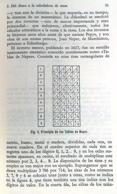Las Tablas de Neper que reducen las multiplicaciones a sumas, se construían en cartón, hueso, metal o madera