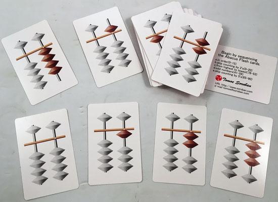 """Cartas con números del ábaco """"soroban"""" para introducir la enseñanza de este ábaco mediante juegos (de 3 a 103 años)"""
