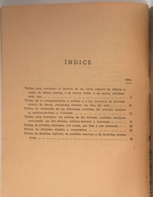 Índice del libro El Calculador,  D. Francisco Vera