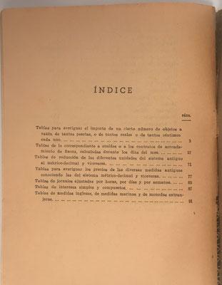 Índice del libro El Calculador,  D. Francisco Vera. La segunda parte contiene tablas de lo correspondiente a sueldos y a contratos de arrendamiento de fincas, calculadas durante los días del mes