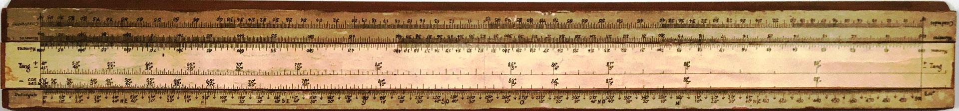 Primitiva Regla Topográfica española marca CONDE, reverso reglilla, girada 180 grados