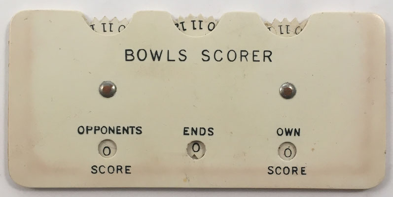 Anotador de puntuación BOWLS SCORER, sin s/n, fabricado por Taylor-Rolph Company Ltd. en Londres (Inglaterra), año 1960, 9.5X4.5 cm