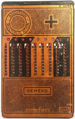 Ábaco de ranuras GEMEKO (similar a ADDIATOR), fabricado por Le Girondin-Unis (Unis =Union Nationale Inter Syndicale), UNIS France 2-193, s/n A-12169, año 1923, 10.5x17 cm