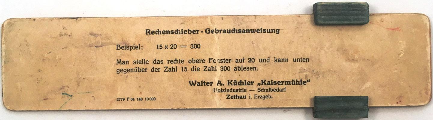 Reverso con las instrucciones de uso de la regla para multiplicación KAISERMÜLHLE. Holzindustrie Schulbedarf (útiles escolares industria de la madera). La empresa FROHS se hizo cargo de KAISERMÜLHLE en 1913