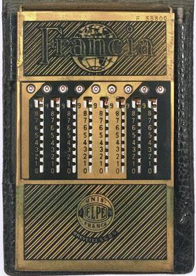 Ábaco de ranuras FRANCIA (similar a PICMA), fabricado por Le Girondin-Unis (Unis =Union Nationale Inter Syndicale) France, Elpé (2-193), s/n F-33800,  año 1926, 8.5x15 cm