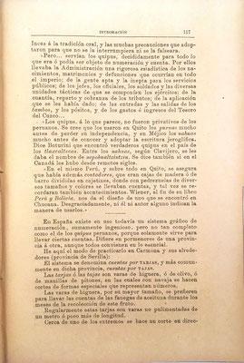Es muy interesante la descripción del Quipu peruano (como libro de cuentas) y su relación con el Nepohualtzintzin mejicano y la Tarja (vara de higuera) española