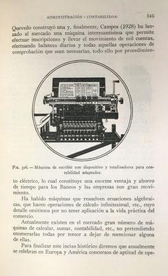 "Máquina de escribir con el mecanismo ""totalizador"" para facturas"