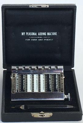 GOLDEN GEM Adding Machine, Aut. A. Machine Co, s/n 405245, año 1907, Nueva York, USA, 11x8x2 cm