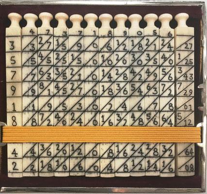 Ábaco multiplicativo de NAPIER, 12 varillas cuadrangulares (11 de 0.6X7 cm y 1 de 0.8x7 cm). Diseño: diagonal principal, desordenado: centro pares descendente hacia abajo, con indicador de las 4 caras de cada varilla