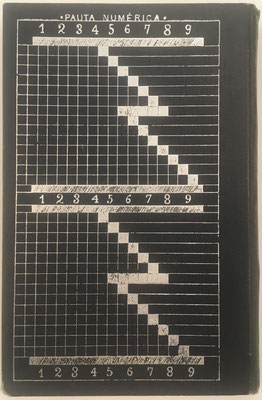 """De hecho, la máquina """"Pauta Transmisiva de los Números"""" se sustituye  en este libro por el cuadro """"Pauta Numérica"""" de la contraportada, que tiene la misma utilidad para realizar cualquier multiplicación reduciéndola a la suma de sus productos parciales"""