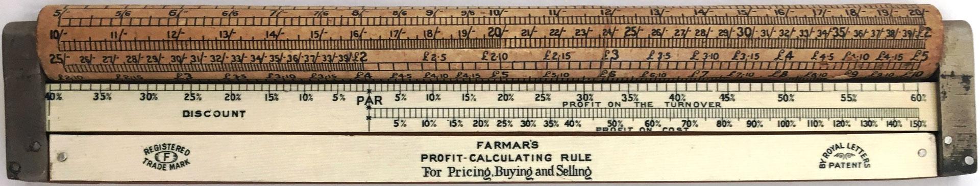 Regla de cálculo cilíndrica FARMAR'S Profit-Calculating Rule (combinada con una regla lineal), hacia 1912, 24.5x5 cm