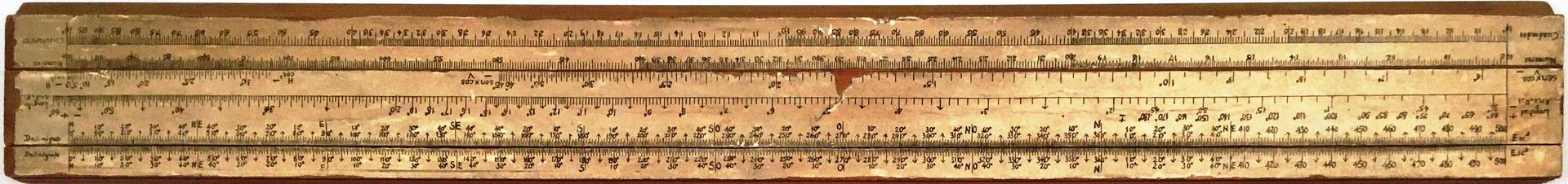 Primitiva Regla Topográfica española marca CONDE, girada 180 grados