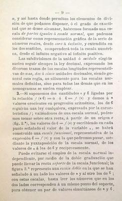 La regla de cálculo vista como caso particular del problema general de la nomografía: nomograma de escala logarímica: pág. 9